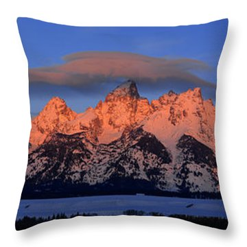 Alpenglow Tetons 2 Throw Pillow