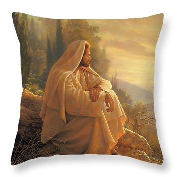 Throw Pillow featuring the painting Alpha And Omega by Greg Olsen