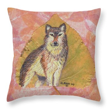Alpha Male On Natural Leaf Throw Pillow