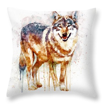 Alpha Wolf Throw Pillow by Marian Voicu