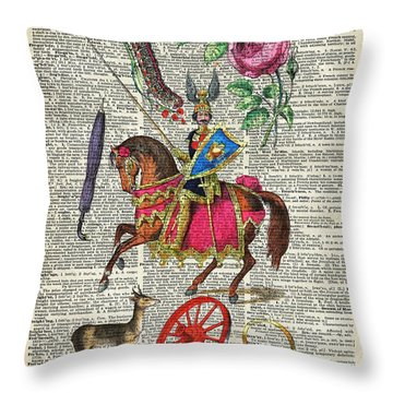 Alphabet Book Illustration Over Old Dictionary Book Page Throw Pillow
