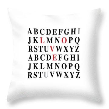 Alphabet I Love U Throw Pillow