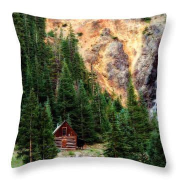 Alpine Cabin Throw Pillow by Lana Trussell