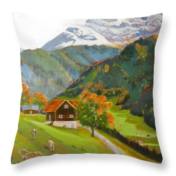 Alpine Farm Near Buerglen In Canton Uri Throw Pillow by David Gilmore