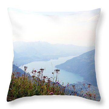Alpine Flora On Top Of Schynige Platte Throw Pillow