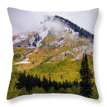 Throw Pillow featuring the photograph Alpine Loop Autumn Storm - Wasatch Mountains  by Gary Whitton