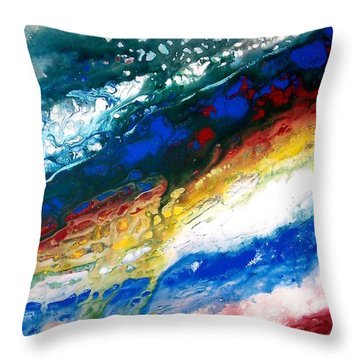 Throw Pillow featuring the painting Alpine River Run by Patricia L Davidson