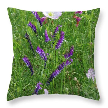 Alpine Vetch And Primroses Throw Pillow by Robyn Stacey