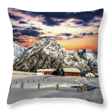 Alpine Winter Scene Throw Pillow