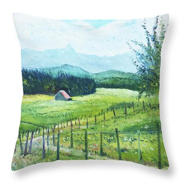 Alps From Geneva Switzerland 2016 Throw Pillow by Enver Larney
