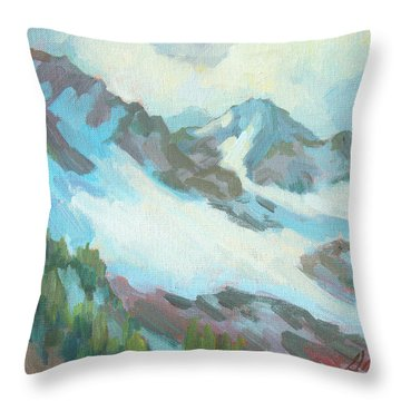 Throw Pillow featuring the painting Alps In Switzerland by Diane McClary