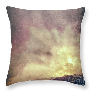 Throw Pillow featuring the photograph Alps With Dramatic Sky by Silvia Ganora
