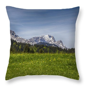 Alpspitze And Zugspitze Throw Pillow
