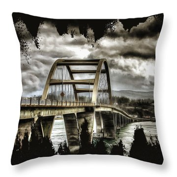 Alsea Bay Bridge Throw Pillow