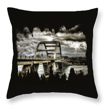 Alsea Bay Bridge Throw Pillow