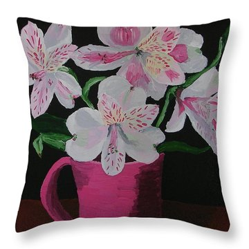 Alstroemeria In Mug Throw Pillow by Joshua Redman