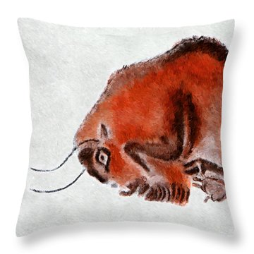 Altamira Prehistoric Bison At Rest Throw Pillow