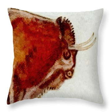 Altamira Prehistoric Bison Detail Throw Pillow