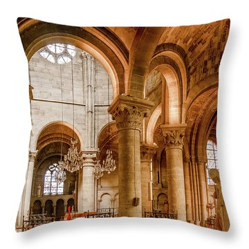 Poissy, France - Altar, Notre-dame De Poissy Throw Pillow