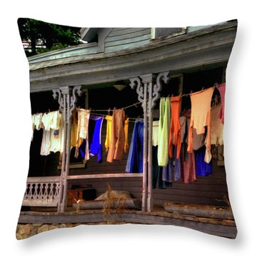 Throw Pillow featuring the photograph Alton Washday Revisited by Wayne King