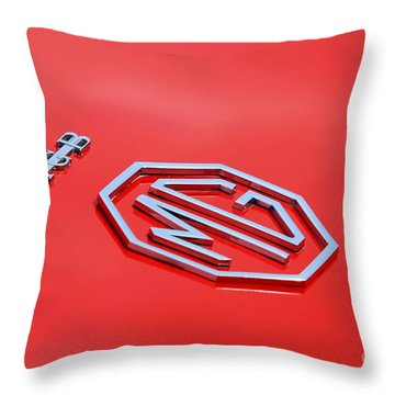 Throw Pillow featuring the photograph Aluminum Font by Stephen Mitchell