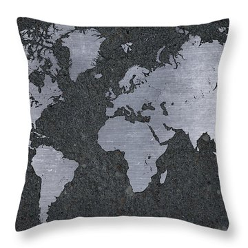 Aluminum Map Of The World On Concrete Slab Throw Pillow