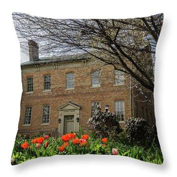 Alumni House In Spring Throw Pillow