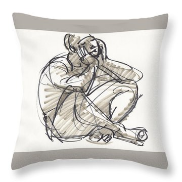 Throw Pillow featuring the drawing Alvin by Judith Kunzle