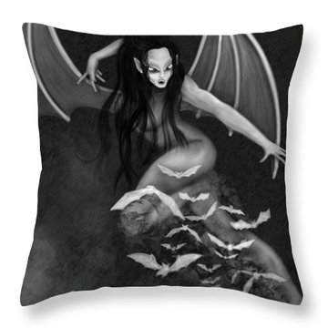 Always Awake - Black And White Fantasy Art Throw Pillow