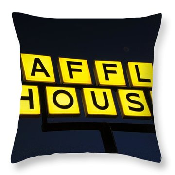 Always Open Waffle House Classic Signage Art  Throw Pillow
