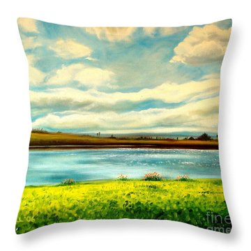 Throw Pillow featuring the painting Am I Dreaming by Elizabeth Robinette Tyndall