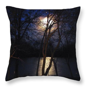 Early Morning Moon On Lake Throw Pillow