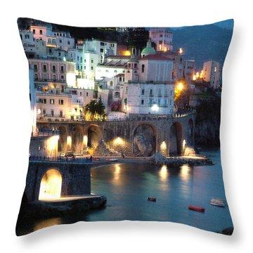 Amalfi Coast At Night Throw Pillow