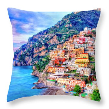 Amalfi Coast At Positano Throw Pillow by Dominic Piperata