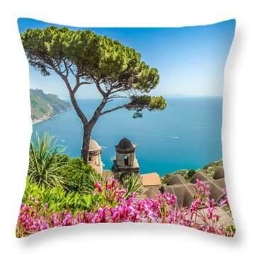 Amalfi Coast From Villa Rufolo Gardens In Ravello, Campania, Ita Throw Pillow