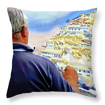 Throw Pillow featuring the digital art Amalfi Coast Street Artist - Positano, Italy by Joseph Hendrix