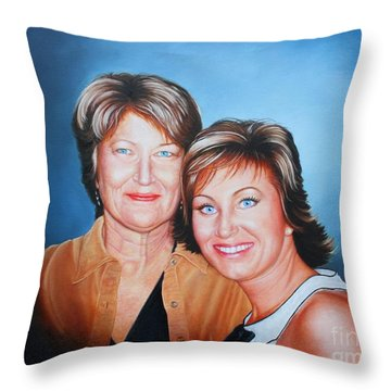 Throw Pillow featuring the painting Amanda And Mom by Mike Ivey