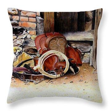 Amanda's Saddle Throw Pillow by Jimmy Smith