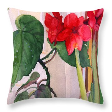 Throw Pillow featuring the painting Amaryllis And Begonia by Nancy Watson