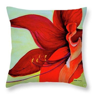 Amaryllis Blossom Throw Pillow by Rachel Lowry