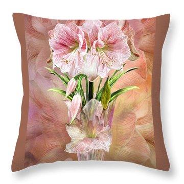 Throw Pillow featuring the mixed media Amaryllis In Amaryllis Vase by Carol Cavalaris
