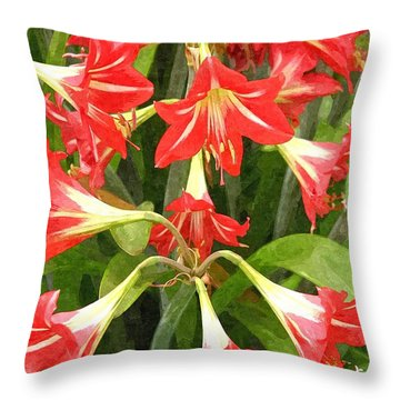 Amaryllis Lily Bunch Throw Pillow