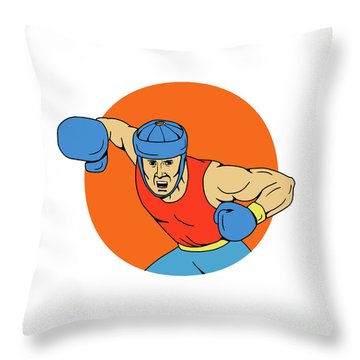 Amateur Boxer Overhead Punch Circle Drawing Throw Pillow