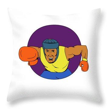 Amateur Boxer Punching Circle Drawing Throw Pillow
