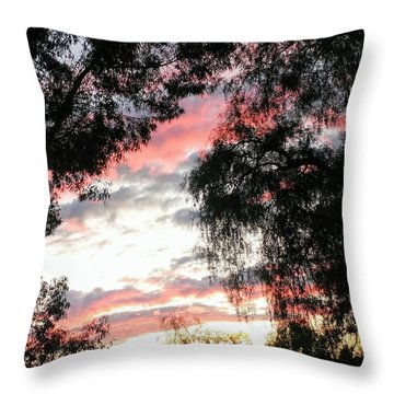 Amazing Clouds Black Trees Throw Pillow