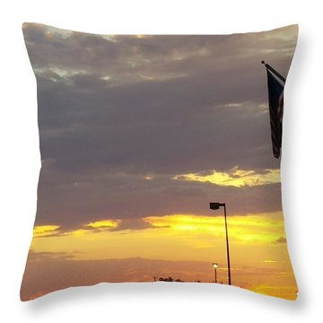 Patriotic Sunset Throw Pillow