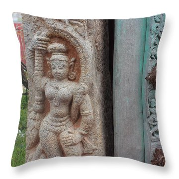 Amazing Door And Column, Fort Kochi Throw Pillow by Jennifer Mazzucco