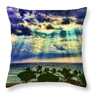 Amazing Grace - Sun Rays Before Sunset By Diana Sainz Throw Pillow