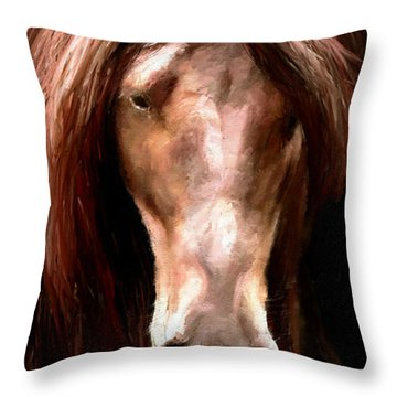 Throw Pillow featuring the painting Amazing Horse by James Shepherd