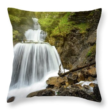 Amazing Mountain Waterfall Near Farchant Village At Garmisch Partenkirchen, Farchant, Bavaria, Germany. Throw Pillow